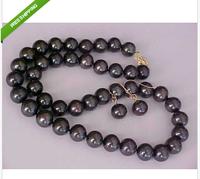 "Huge AAA10-11mm south sea black pearl necklace 18"" 14K Gold + earrings 14k"