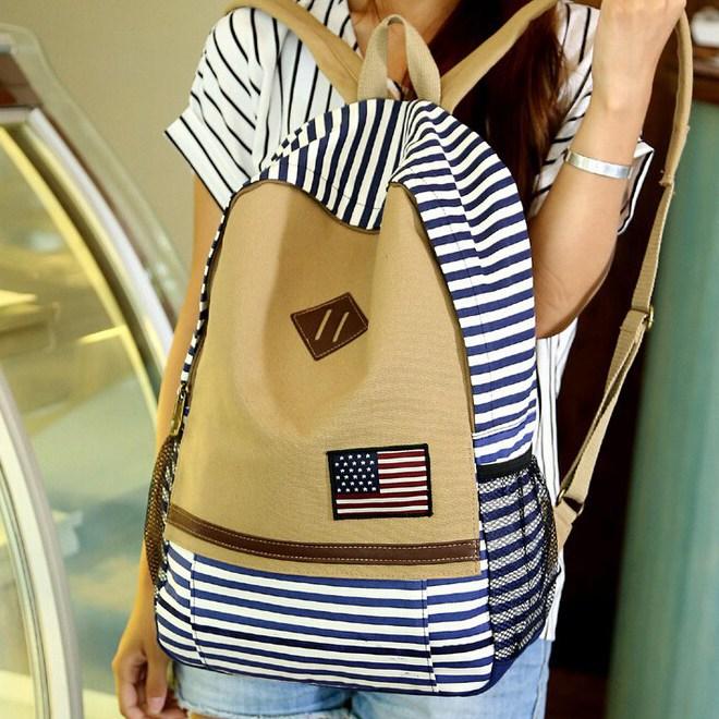 Fashion Striped Cool Unisex Handback UK/US Flag BackPack USA American Shoulder School Bag Tavel Sports Bag Free shipping DI6608(China (Mainland))