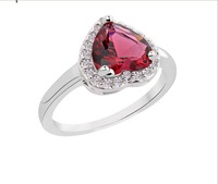 Size6/78/9/10 Jewelry classic Ruby sapphire lady's 10KT white Gold Filled Ring