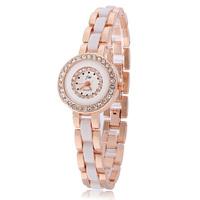 Free Shipping Wholesale Luxury Fashion Rose Gold Plated Watch Womens White Rhinestone Student Watches Ceramic Ladies