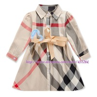 5pcs/lot(2-6 years old) Wholesale children clothes,  Girls long sleeve plaid dress with ribbon belt, cotton brand lattice dress