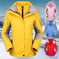 2014 New Plus Size Climbing Hiking Winter Jacket  Women Ski Snow Waterproof Sports Coat 2in1 Warm Outwear Black Green Red S-XXL