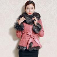 2014 New Genuine Leather Suede Coat With Natural Fox Fur Collar Waist Belt Slim Short Jackets Winter Overcoat Garment Womens
