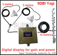 Auto Gain Control GSM booster digital display gain 65dbi GSM repeater GSM 900mhz booster kits w/ 9 dbi yagi antenna & 26 M cable