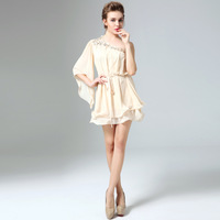 Large size dress shoulder loose Beaded party dresses the bridesmaids short paragraph one,