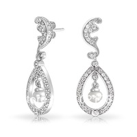 2014 Kate Middleton Inspired Royal Bridle Natural Pearl Wedding Earrings for Women, 925 Silver Dangle Stud Earing Jewelry