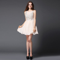 A new chiffon skirt's evening dresses apricot shoulders