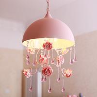 KINGARTSemi-cirle small pendant light pink rose rustic wrought iron stair princess lamp