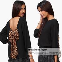 Multi Color European Female Leopard Chiffon Shirt Sexy Women Bow Backless Loose Chiffon Blouse SDT014