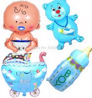 New!four designs balloons baby+bottle bear+baby stroller+milk bottle for newborn party decoration balloon childrens party decor