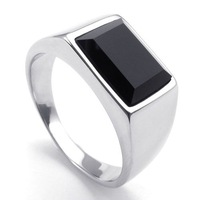 A22218 male titanium ring inlaying black gem ring male ring