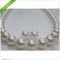 "PERFECT GORGEOUS 18""10-11MM AKOYA NATURAL WHITE PEARL NECKLACE earring 14K"