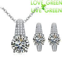 2014 Free Shipping women brand birdal wedding 8 mm Zircon 18K white gold Plated Pendant necklace earrings jewelry sets 50022