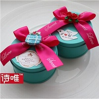 2014 free shipping new design candy box unique cheap flower wedding chocolate mental round gift box