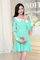 2014 autumn sweet lace gauze hollow out pan collar one-piece dress + free shipping