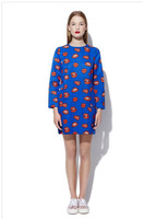 Free shipping 2014 iswag personality bright red lips 3 d printing tide nine points round collar sleeve dress