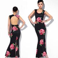 2014 long evening dress backless hot&sexy rose print mermaid dress party evening elegant vestidos de festa vestido longo gown