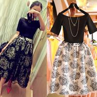 2014 summer one-piece dress female organza high waist skirt set fairy half-length skirt