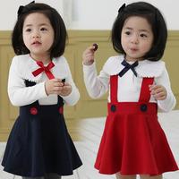 New fashion spring autumn girls sets clothing  baby girls long-sleeve t-shirt with skirt  kids t-shirt braces skirt set
