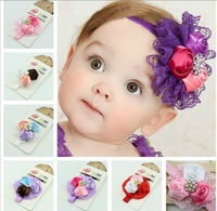 Rhinestones Baby girls headbands lace fabric Flower headbands with pearls infant headwear 12pcs/lot free shipping