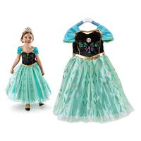 hot selling 5pcs elsa princess frozen dress girls kids frozen costume party dress 3~7 years
