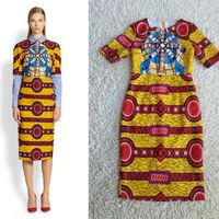 Free Shipping Stunning Jacquard Cotton Printed Slim Dress 140827Z01