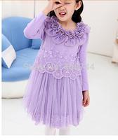 110-150CM,2014 girls flower collar  dress ,GD-CYH04