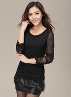 New 2014 women summer-autumn blouse long-sleeve solid hollow out chiffon blouse Korea fashion ladies lace blouse plus size M-2XL