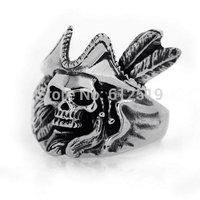 Lovejewelry Vintage Pirate Skull Biker Men's Ring, Silver Black
