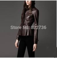FREE SHIPPING  Autumn woman short slim split leather sheepskin ruffle  women popular Fashionable leather jackets Coffee & black