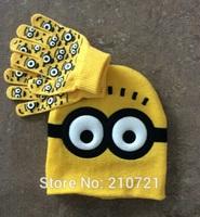 Retail 1set Start baby boys/Girls Dave cartoon winter knitted hat and gloves children's cap set For winter