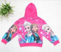 Wholesale 2014 New Arrival Child Zipper girls Frozen Hoodies Elsa and Anna cartoon Long Sleeve tops Sweatshirts kids wear DA405