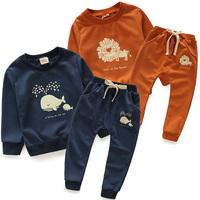 New fashion spring autumn cartoon cotton boys clothing sets kids long-sleeve weatshirt pants sets baby boys casual sets