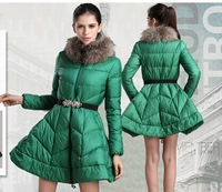 EMS 2014 High Quality Large Raccoon Fur Collar Duck Feather down jacket Women's Medium-long Jacket for winter down coat PT0520