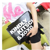The new 2014 female bag fashion hand bag printed letter envelope bag one shoulder inclined across the bag Free shipping