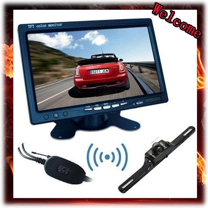 "7"" color tft lcd car rearview monitor+Wireless Rear View Camera Night Vision Car Reverse Backup Cam kit,Free Shipping(China (Mainland))"