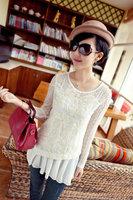 hot sale lace flower women long sleeves clothes T-shirt white color tops loose hem design clothes M L size