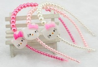 Cute hello kitty headbands for girls baby toddle headbands pearl headband hairbands mix color 20pcs free shipping