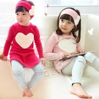 2014 New spring autumn Heart girls clothing set  baby girls long-sleeve T-shirt legging set with headabnd  three piece sets