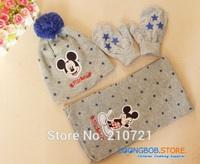 Retail 1 Set start 2014 new Design Winter/Autumn Baby Boys/Girls Cartoon Mickey scarf Cute hat+scarf+gloves 3 pcs set