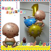 Angel baby ballon 6PCS/Set New Combination of birthday ,Baby 1 year Birthday Foil balloon party decorations balloon Free Shippin