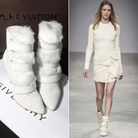 2014 Isabel Marant Famous Brand Women Wedge Boots Lovely Winter Fur Boots,White Genuine Leather Ankle Boots Free Shipping