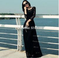 New 2014 autumn winter women sexy vintage fashion black lace long dress maxi floor length plus size brand casual cut out dresses