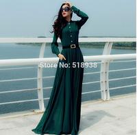 2014 autumn winter women vintage fashion long sleeve chiffon maxi dress floor length brand solid color plus size pockets dresses
