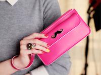 2014 wallet for women designer brand high-quality sandy color mustache purse women, pu leather rivat-bag zipper clutch wallets