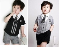 2014  baby Clothes childrens' clothing sets kids clothes short sleeves gentleman College style retail  hot