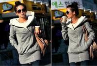 desigual coat! hot seller New fashion Inclined zipper with hood Fleece jacket women casual coat