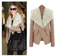 Foreign trade new fashion cashmere wool coat fur coat lapel big European and American classic wool coat