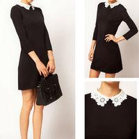 Sexy Slim Lady Woman lace collar dress Black Mini Dress S M L Free shipping Y1003