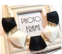 Charm Black Geometric Gem Gold Plated Collar Chains Chunky Statement Bib Necklaces & Pendants 2014 New Fashion Jewelry Women N50